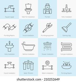 set of plumbing toilet shower pipe bathroom flat line icons set