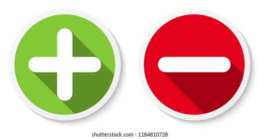 Set of plus & minus sign icons, buttons. Flat round positive & negative symbol stickers. Vector EPS 10