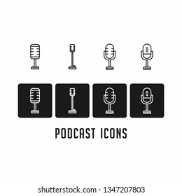 Set of Podcast radio icon illustration. Studio table microphone icon. concept logo. Podcast logo monoline.