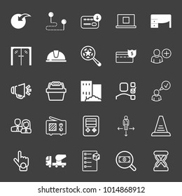 set of point, route, download, computer, work desk, door, helmet, starred search, loudspeaker, basket, building, checklist, man woman, television, concrete truck, stairs, search money vector icon