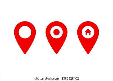 Set of pointer icons or pins for map. Sign of navigation or location isolated on white background. EPS 10