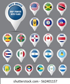 Set the pointer to the map with the flag of the countries of North America and their names. Vector illustration.