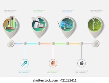 Set of pointers on time line. Green industry infographic timeline.