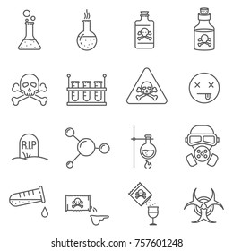 Set of poison Related Vector Line Icons. Includes such Icons as toxins, poisoning, substance, chemistry and  etc.