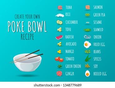 Set of poke bowl ingredients. Create own recipe of poke bowl