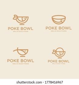 set of Poke bowl restaurant line outline logo