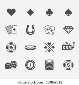 Set of poker club and gambling casino black icons
