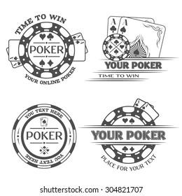 Set Poker emblems. The monochrome style.