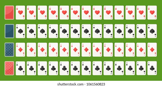 Set poker playing cards, full deck. Playing cards face and back side. Gambling games concept. Vector illustration in trendy flat style on green background