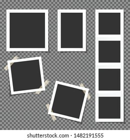 Set of Polaroid square frames isolated on transparent background.