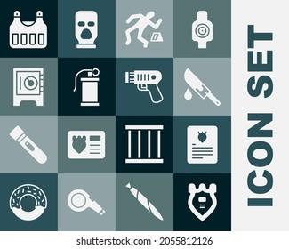 Set Police badge, The arrest warrant, Bloody knife, Crime scene, Hand smoke grenade, Safe, Bulletproof vest and electric shocker icon. Vector