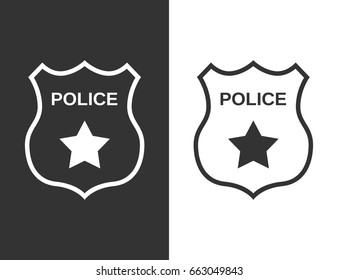 Set Police badge in flat style