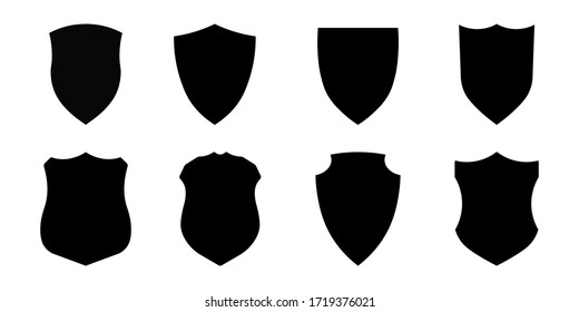 Set of police badge shape, vector military shield silhouettes, security, football patches, illustration shield shape protection, black security and football badge vector icon