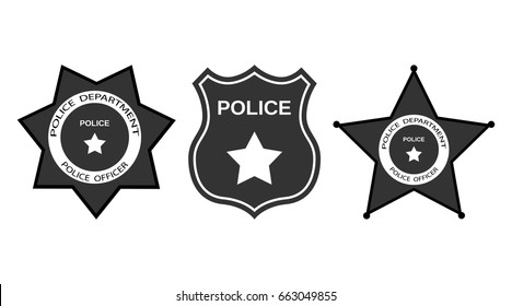 Set Police badge with stars in flat style