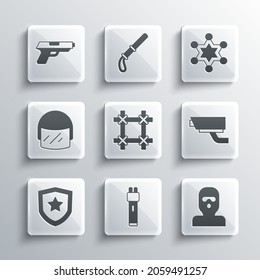 Set Police electric shocker, Thief mask, Security camera, Prison window, badge, helmet, Pistol or gun and Hexagram sheriff icon. Vector
