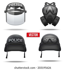 Set of Police helmets and mask Vector Illustration. Army symbol of defense. Isolated on white background.