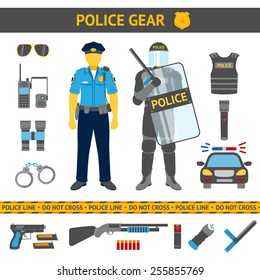 Set of Police icons - gear, car, weapons and two policemen in daily uniform and in riot gear. Vector