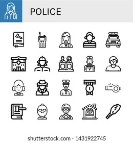 Set of police icons such as Lawyer, Constitution, Walkie talkie, Prisoner, Police car, Police station, Firewoman, Jury, Policeman, Suspect, Judge, Detective, Badge, Whistle ,