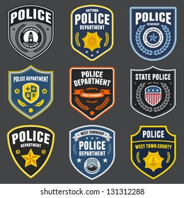 Set of police law enforcement badges and logo patches