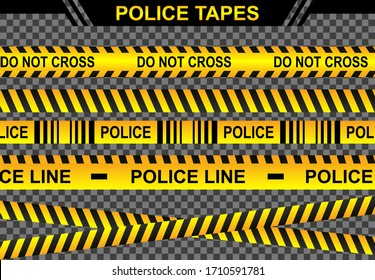 Set police lines vector illustration , crime danger criminal scene concept, access ribbon banner symbol security , line yellow tape caution , sign isolated background tranparant