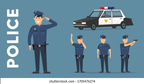 Set of police. Policeman in different poses and police car. Vector illustration in cartoon style