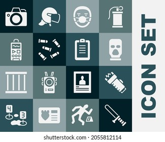 Set Police rubber baton, electric shocker, Balaclava, Doctor pathologist, Bullet, Dictaphone, Photo camera and report icon. Vector
