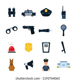 Set of police station icons. Policeman equipment elements and transportation. Handcuffs, electroshocks, truncheon, badge, weapon, dog. Police character. Flat vector illustration isolated on white.