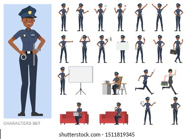 Set of Police working character vector design. Presentation in various action with emotions, running, standing and walking.