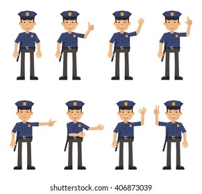 Set of policeman characters showing different hand gestures. Cheerful police officer showing thumb up gesture, greeting, waving, this way, pointing, victory hand. Flat style vector illustration