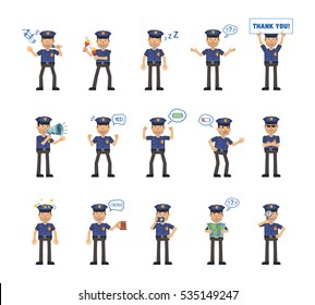 Set of policeman characters showing different actions, emotions. Police officer karaoke singing, dancing, sleeping, holding banner, loudspeaker and doing other actions. Simple vector illustration