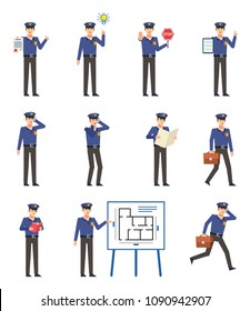 Set of policeman characters showing various actions. Cheerful police officer talking on phone, reading book, holding stop sign, walking and showing other actions. Flat design vector illustration