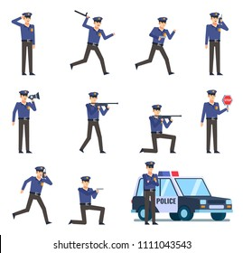 Set of policeman characters showing various actions. Police officer holding gun, loudspeaker, stop sign, running, talking on phone and showing other actions. Flat design vector illustration
