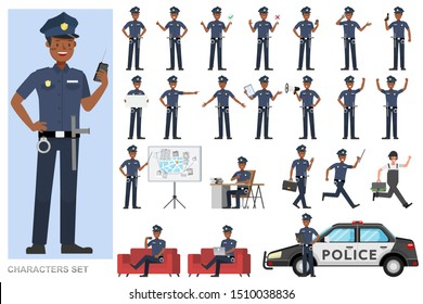 Set of Policeman working character vector design. Presentation in various action with emotions, running, standing and walking.