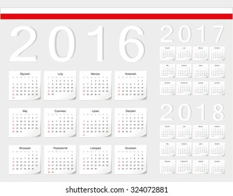 Set of Polish 2016, 2017, 2018 vector calendars with shadow angles. Week starts from Sunday.