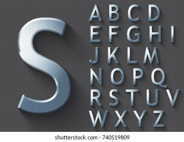 Set of polished steel 3D uppercase english letters. Steel metallic shiny font on gray background. Good font for technology and production concepts. Transparent shadow, EPS 10 vector illustration.