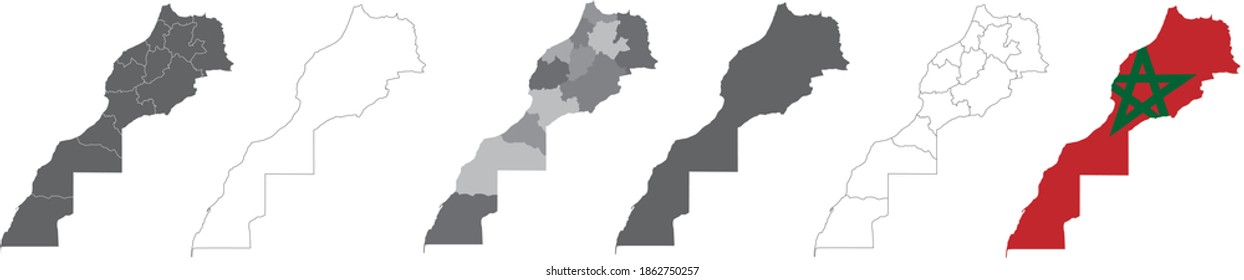set of political maps of Morocco with regions and flag map isolated on white background