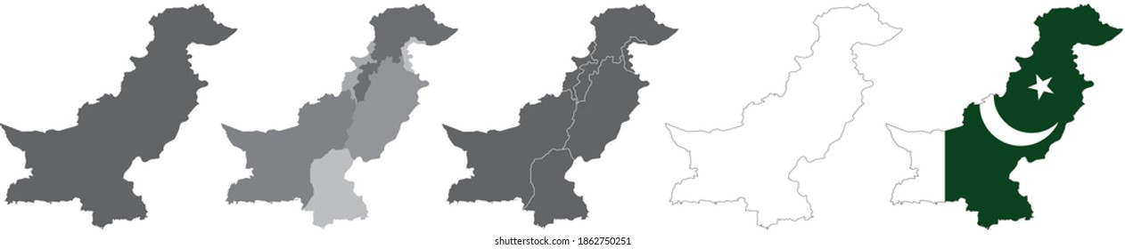 set of political maps of Pakistan with regions and flag map isolated on white background
