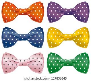 A set of polka dot bow ties.