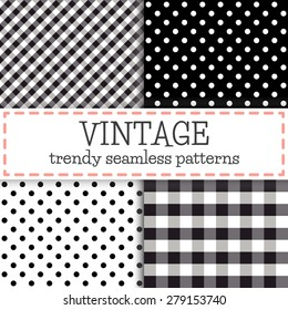 Set of Polka dot and Trendy vichy patterns - seamless backgrounds