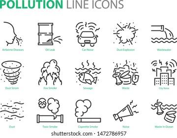 set pollution icons, emission, sewage, dirty, waste