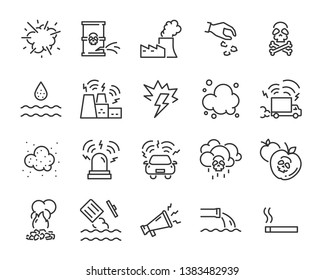 set of pollution icons, such as air pollution, sound pollution, water pollution