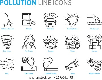 set of pollution line icons, such as dust, noise, sewage, emission