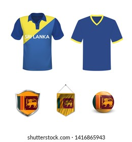 Set of polo t-shirts and flags of the national team of Sri Lanka. Vector illustration.