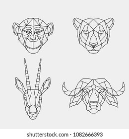 Set polygon animals of Africa. The geometric heads of a monkey, cheetah, antelope and buffalo. Vector illustration.
