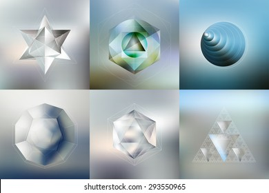 Set of Polygon patterns with the reflection, minimalistic geometric facet crystal logos on blurred background, vector illustration.