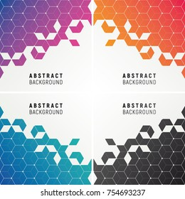 Set of polygonal abstract background in flashy gradient colors. Floating particles of diamond shape with futuristic feel.