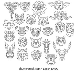 Set of polygonal animal portraits. Collection of geometric animal heads. Black white illustration. Linear art. Tattoo.