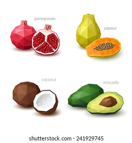 Set of polygonal fruit - pomegranate, papaya, coconut, avocado. Vector illustration