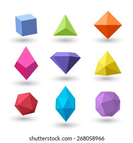Set of polygonal geometrical figures