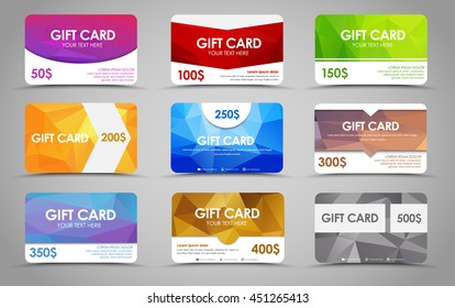 Set polygonal gift cards of different values. Templates multicolored geometric, with rounded corners, in stores and advertising. Vector illustration